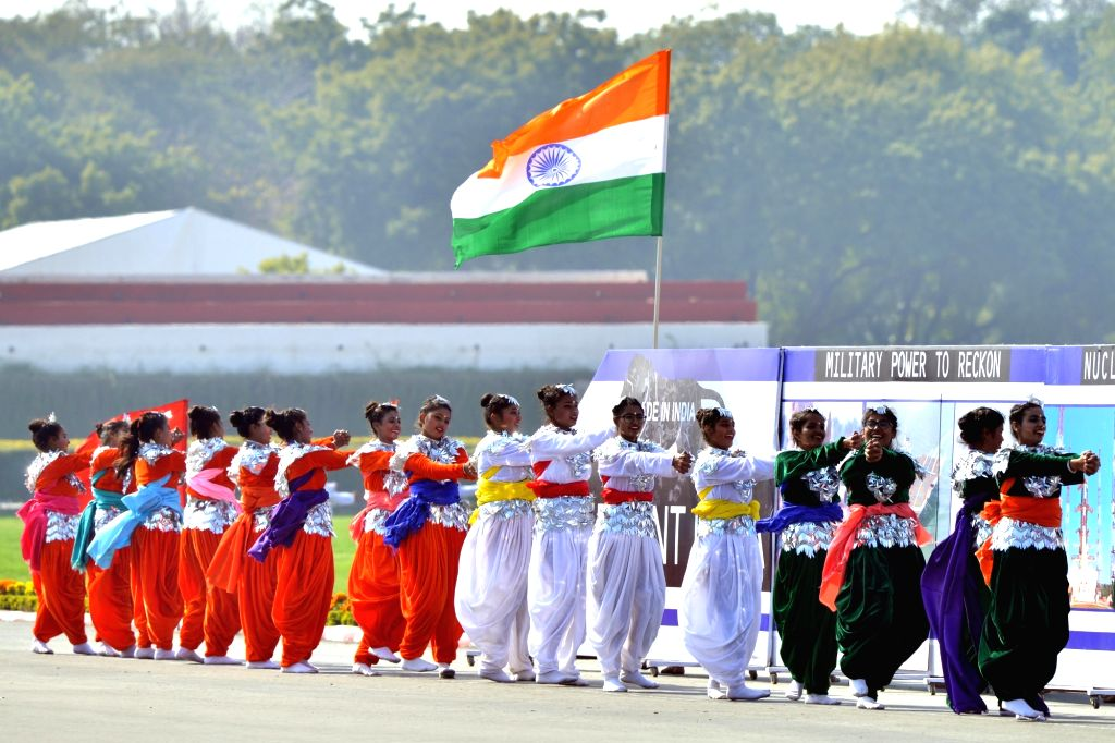 Artistes perform at the culmination parade of this year's National Cadet Corps (NCC) Republic Day Camp at Cariappa Parade Ground in New Delhi, on Jan 28, 2019.