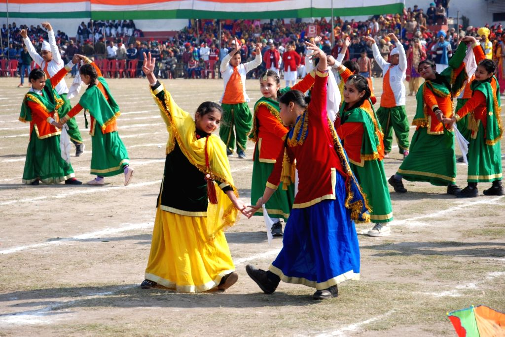 Artistes perform during 2019 Republic Day celebrations in Amritsar, on Jan 26, 2019.