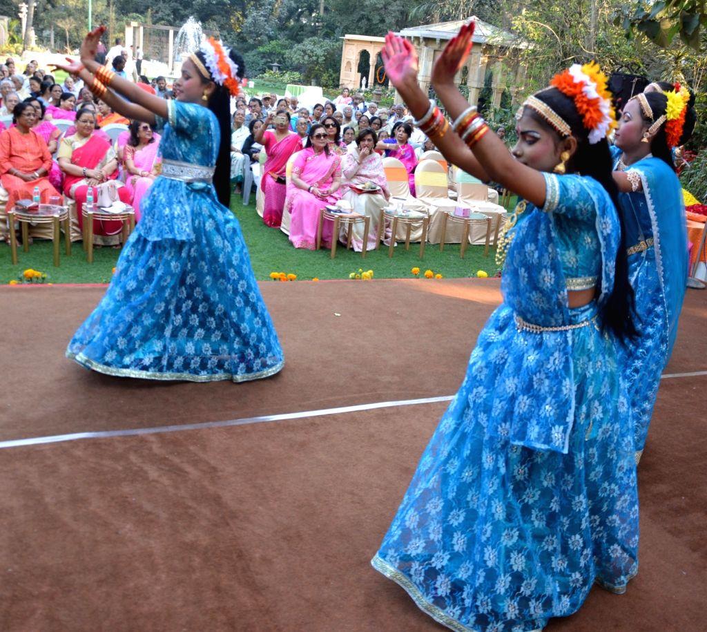 Artistes perform during a Pre-Holi ce;programme organised by All India Marwari Mahila Samity in Kolkata, on Feb 15, 2018.