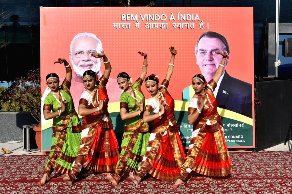 Artistes perform during a warm welcome accorded to Brazilian President Jair Bolsonaro on his arrival in New Delhi on Jan 25, 2020. The President, who is the Chief Guest in Sunday's ...