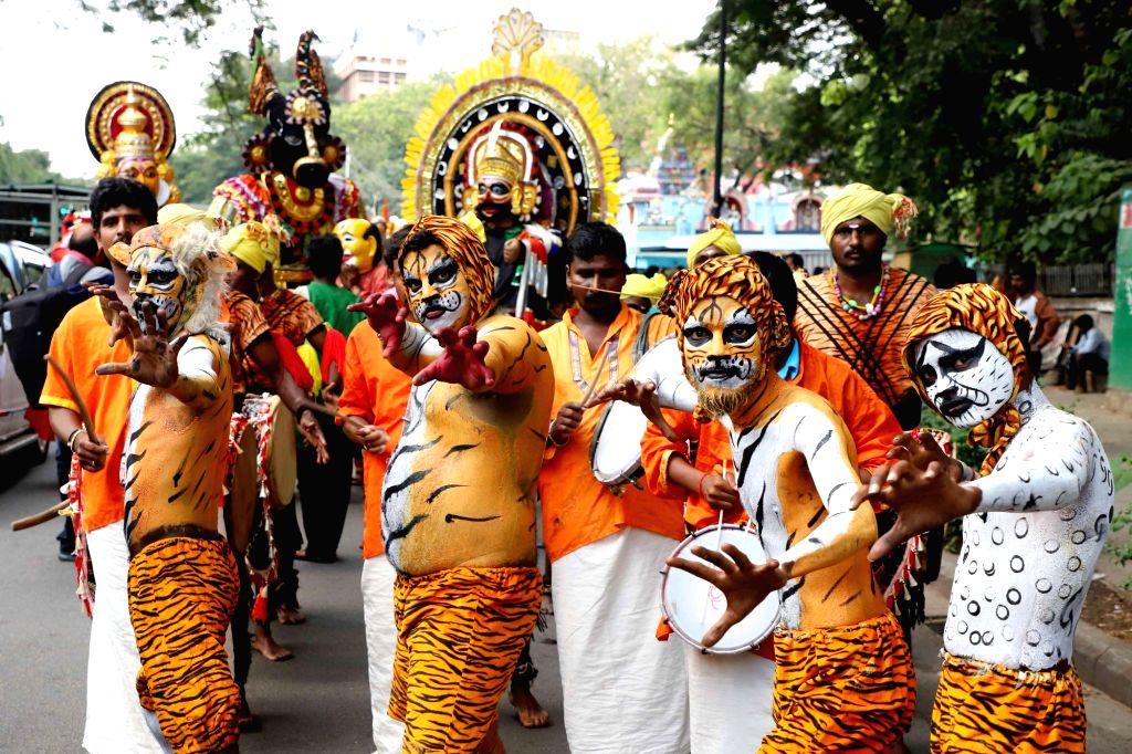 Artistes perform during Kanakadasa Jayanthi celebrations in Bengaluru on Nov 15, 2019.