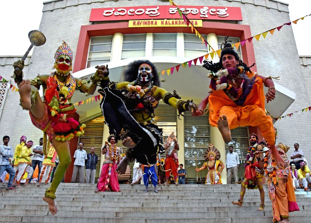 "Artistes perform during ""Nenapina Hokali"" (Memorial Festival) during a programme organised by Kannada and Culture Dept in Bengaluru on Sept 8, 2016."