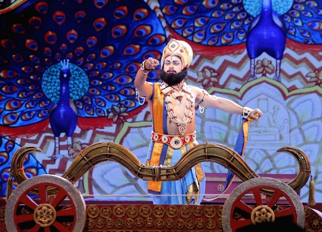 Artistes perform during Ramlila at Shriram Bharatiya Kala Kendra at Mandi House in New Delhi on Oct 17, 2020.