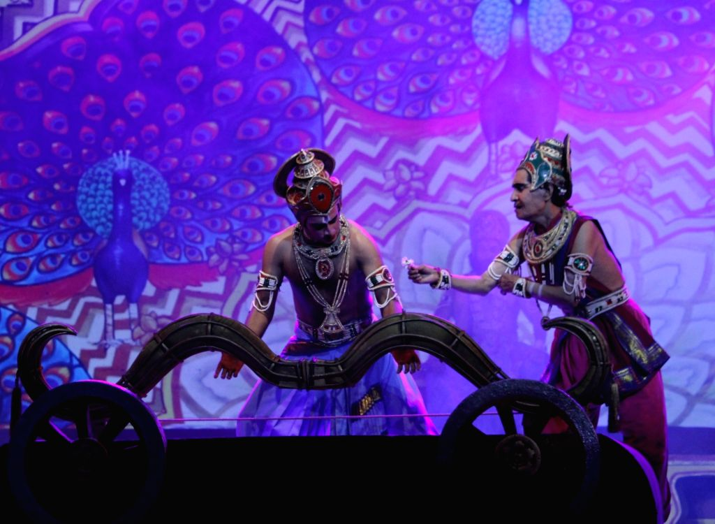 Artistes perform during Ramlila at Shriram Bharatiya Kala Kendra in New Delhi on Oct 17, 2020.