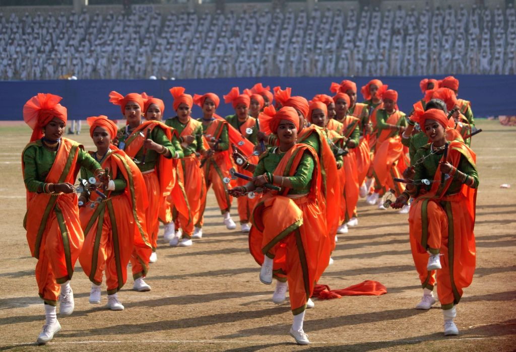 Artistes perform during the 71st Republic Day celebrations organised by the Delhi Government, at Chhatrasal Stadium in New Delhi on Jan 25, 2020.