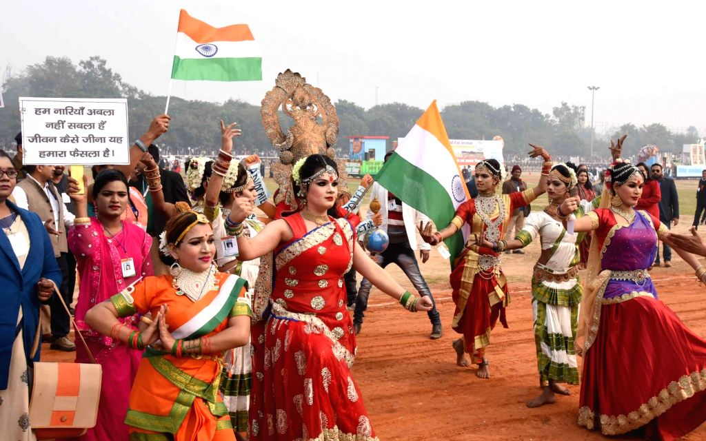 Artistes perform during the 71st Republic Day parade at Gandhi Maidan in Patna on Jan 26, 2020.
