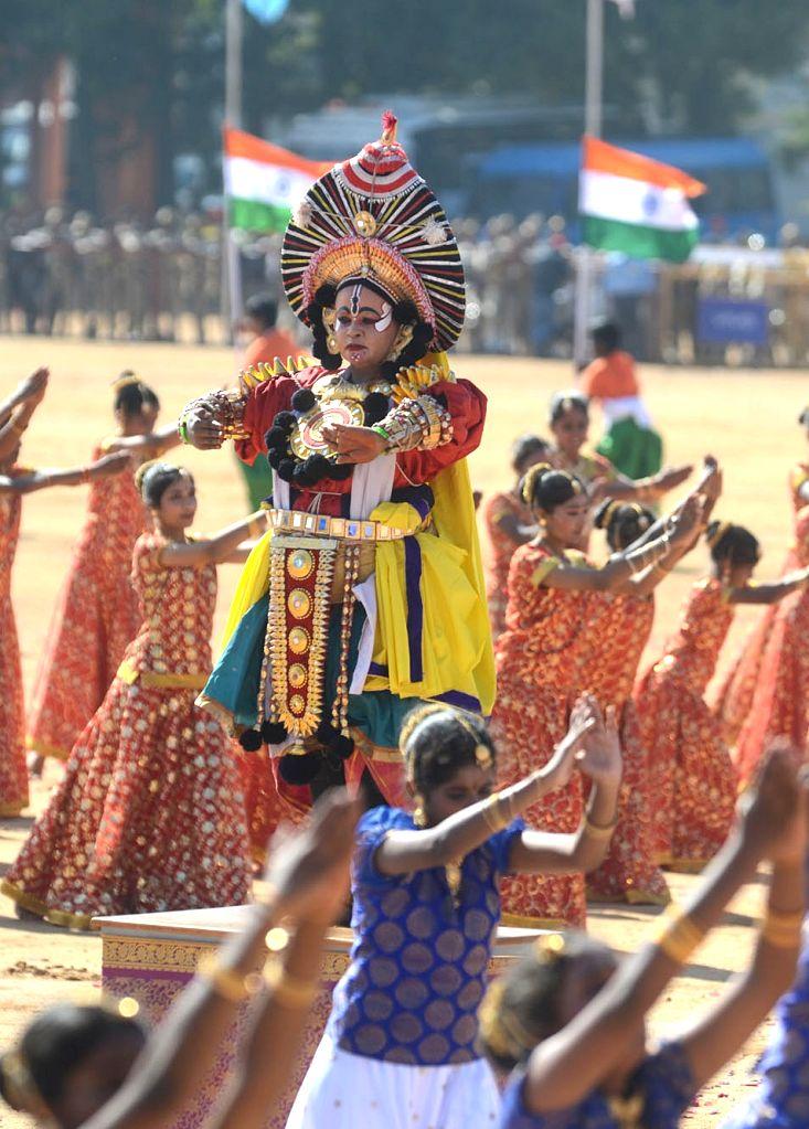 Artistes perform during the 71st Republic Day celebrations at Manekshaw Parade Ground in Bengaluru on Jan 26, 2020.