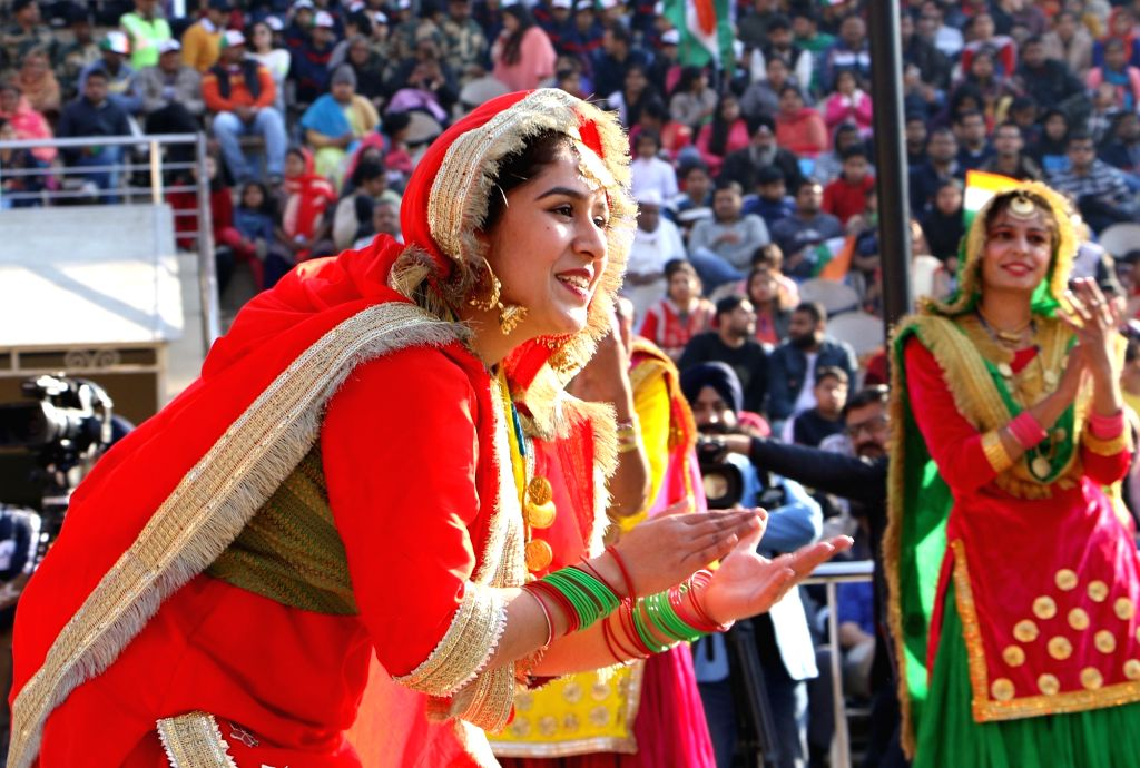 Artistes perform during the Beating Retreat ceremony at 71st Republic Day celebrations at the India-Pakistan border post at Attari, about 35 kms from Amritsar on Jan 26, 2020.