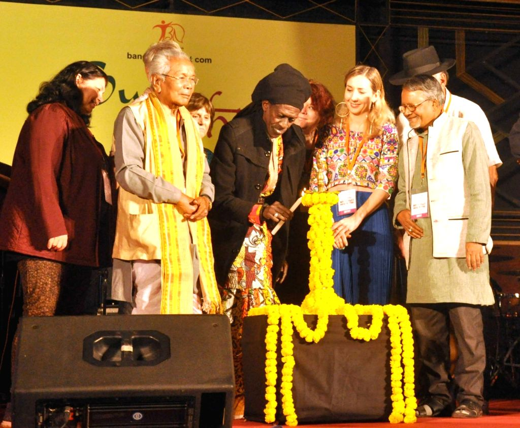Artistes perform during the inauguration of 8th edition of 'Sur Jahan' in Kolkata on Feb 2, 2018.