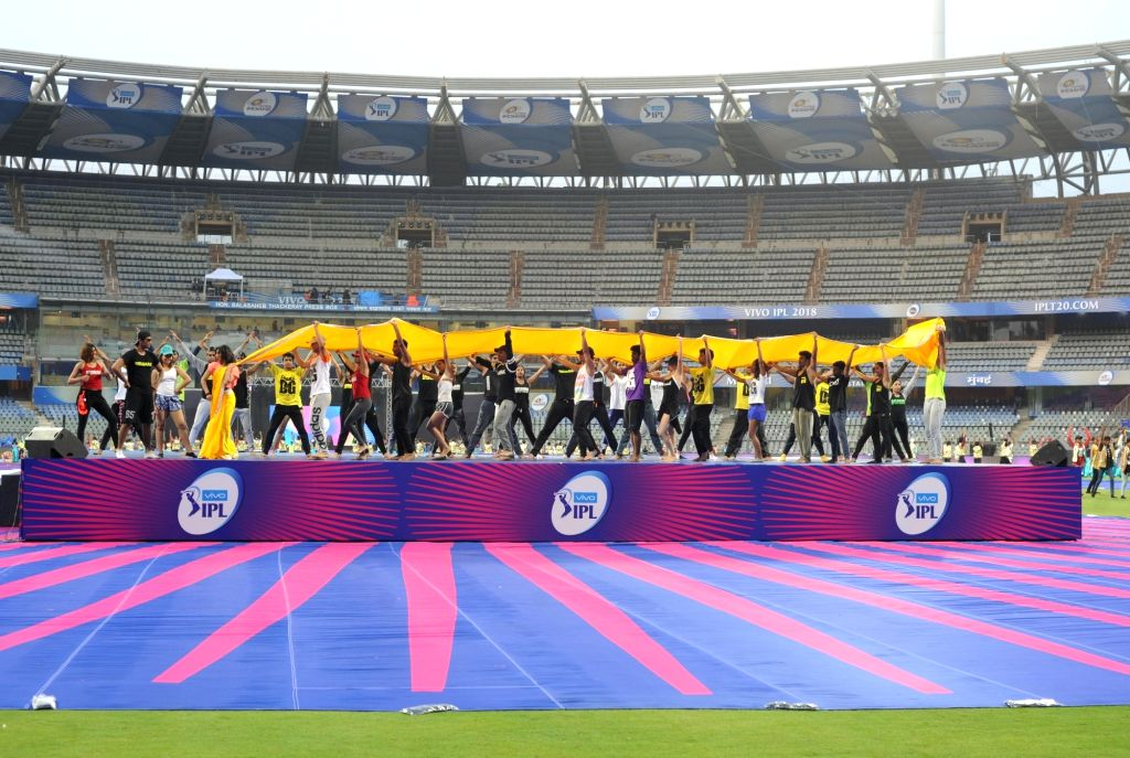 Artistes practice during the dress rehersals of IPL 2018 opening ceremony at Wankhede Stadium Mumbai on April 6, 2018.