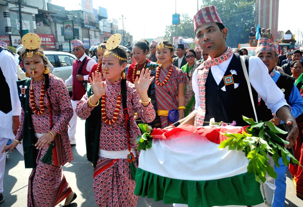Artists during a cultural procession of Gorkha's organised to celebrate 200 years of their arrival in Dehradun on Nov 20, 2015.