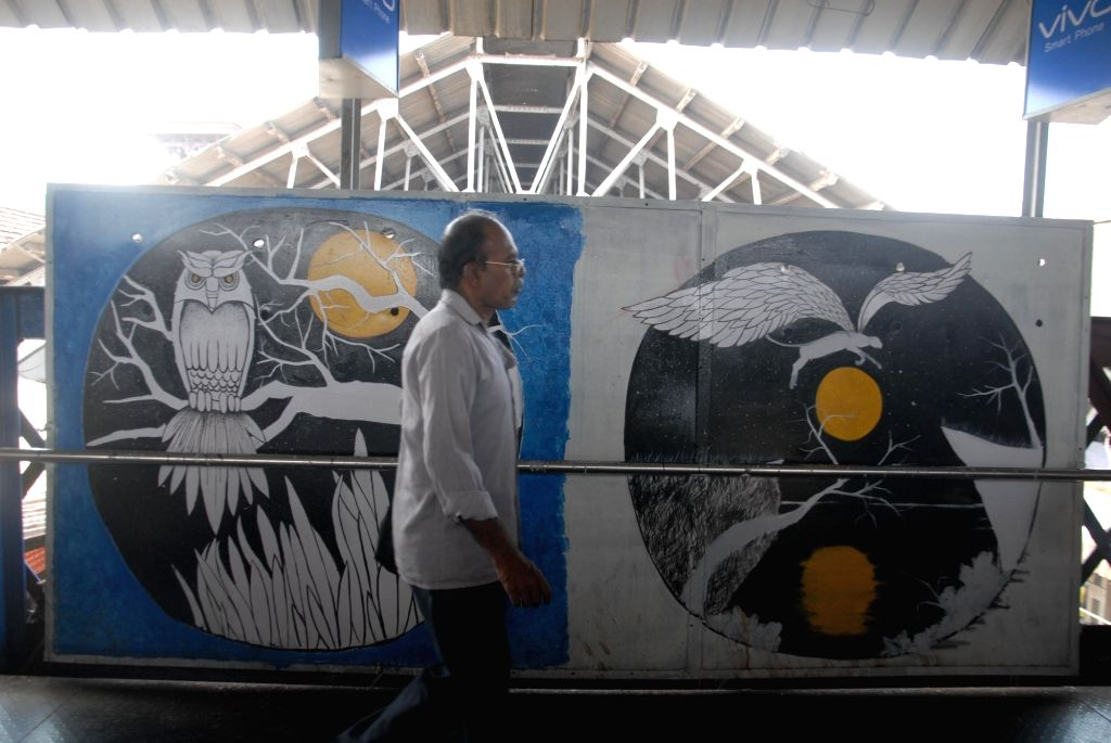 Artists paint the Western Railway Stations an initiative by MAD (Make A Difference), Mumbai First and Western Railway in Mumbai on Oct 15, 2016.