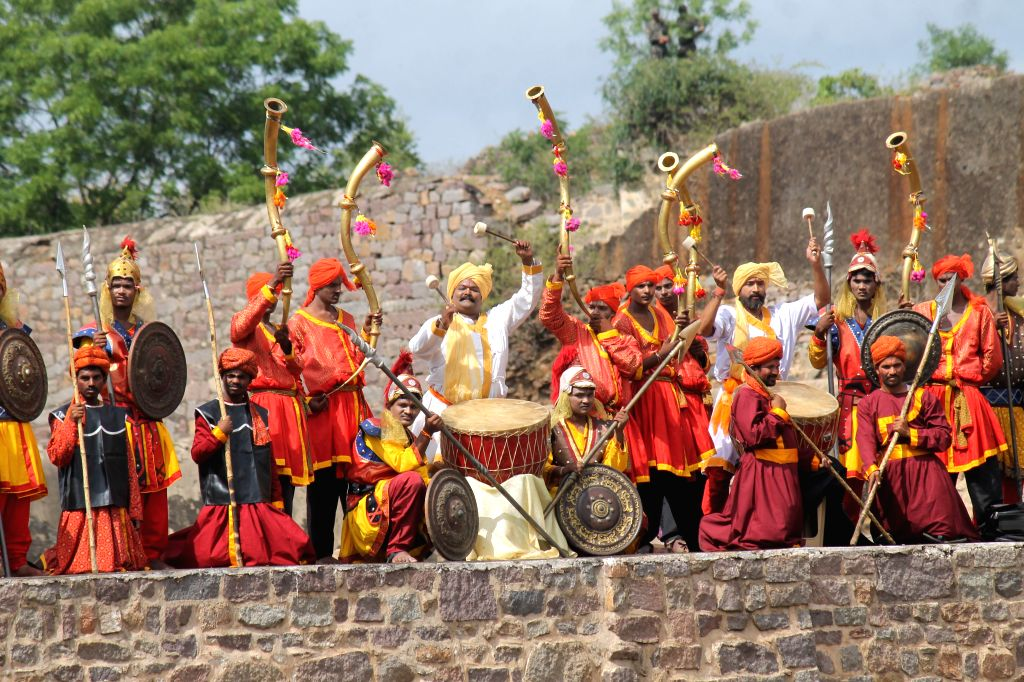 Artists perfom on the occasion of 69th ``Independence Day`` celebration at Golconda Fort in Hyderabad, on Aug 15, 2015.