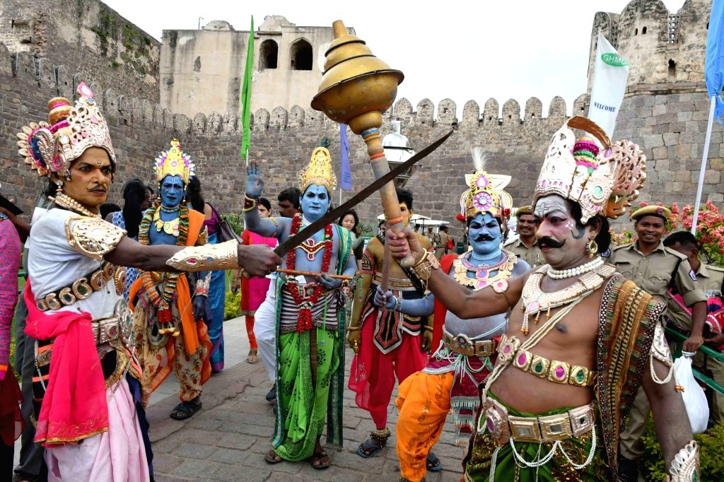 """Artists perfom on the occasion of 70th """"Independence Day"""" celebration at Golconda Fort in Hyderabad, on Aug 15, 2016."""
