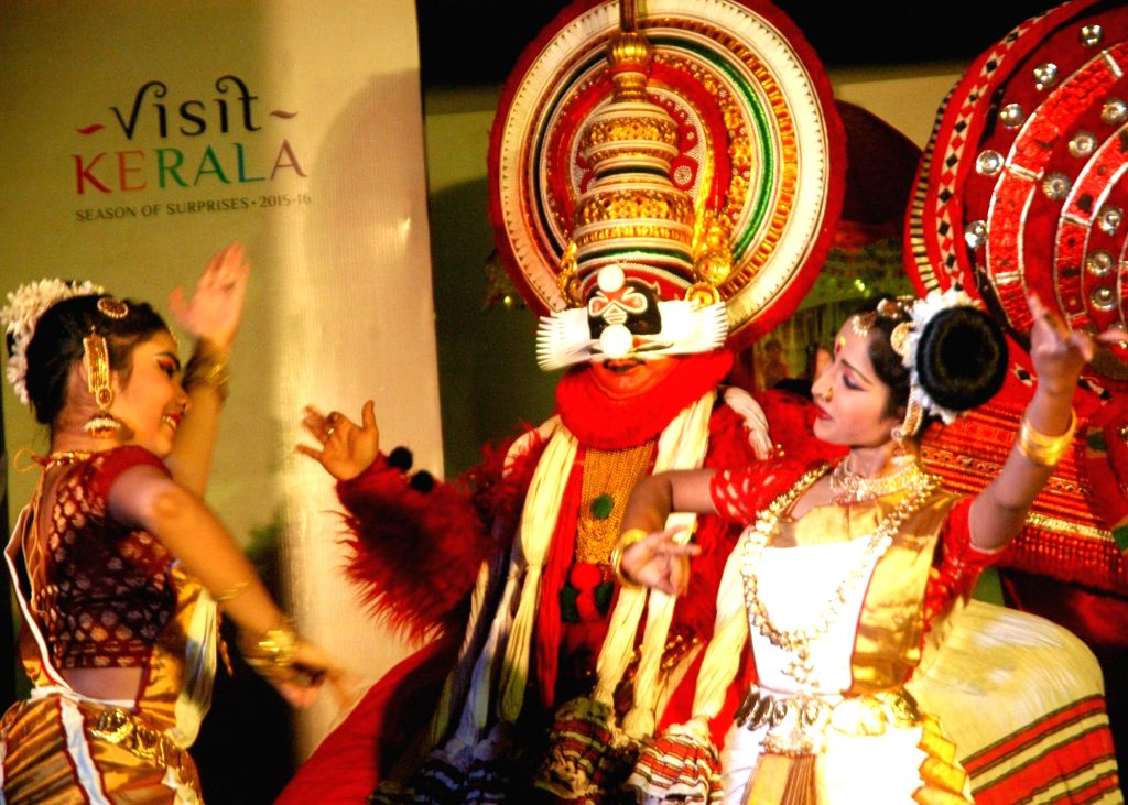 Artists perform during a Kerala Tourism press conference in Kolkata on Jan 21, 2016.