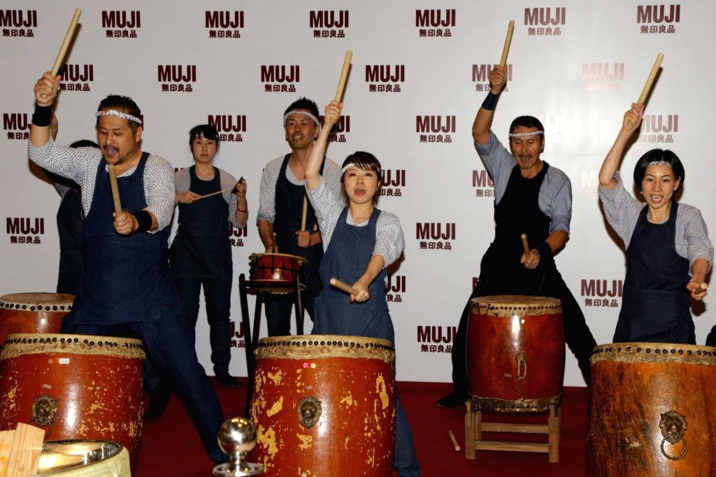 Artists perform during at the launch of Muji - a Japanese retail company in New Delhi on May 5, 2017.
