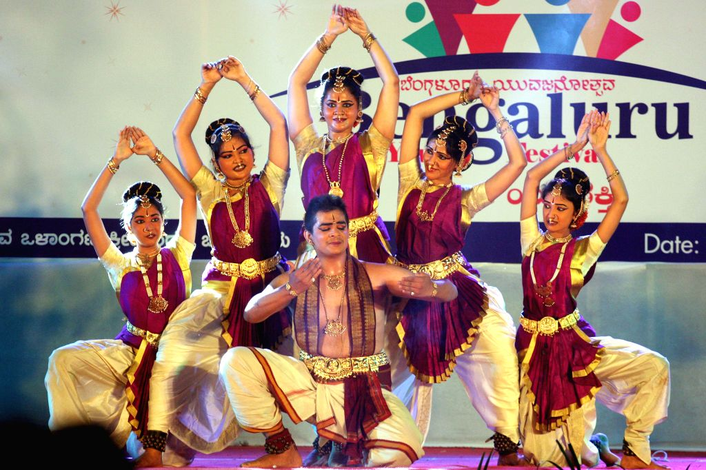 Artists perform during Bangalore Youth Festival organised on International Youth Day at Kanteerava Indoor Stadium in Bangalore on Aug 13, 2014.