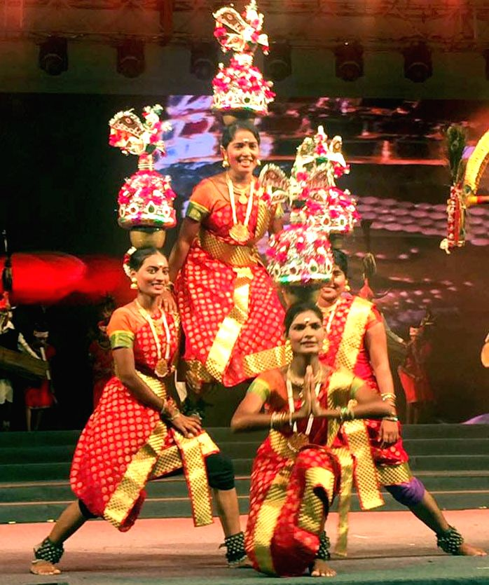 Artists perform during Bharat Parv - a cultural extravaganza, organised by the Ministry of Tourism, at the Rajpath Lawns, India Gate, in New Delhi on August 16, 2016.