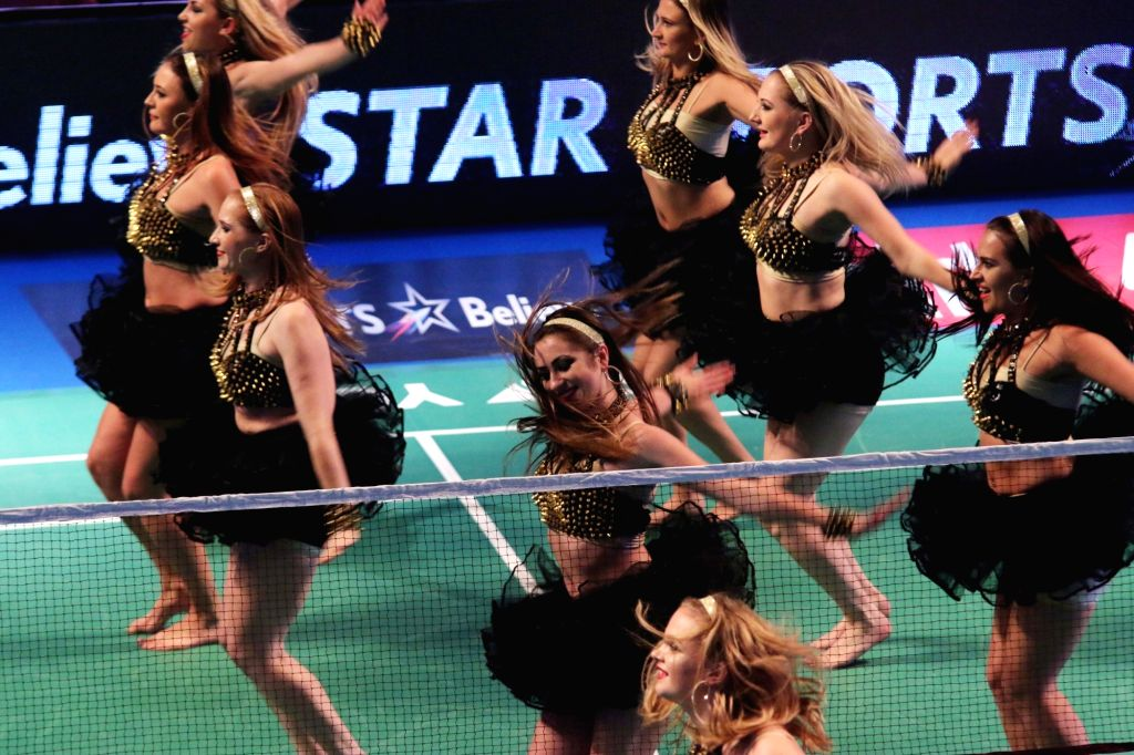 Artists perform during the final of the Premier Badminton League (PBL) at Siri Fort Sports Complex in New Delhi, on Jan 17, 2016.