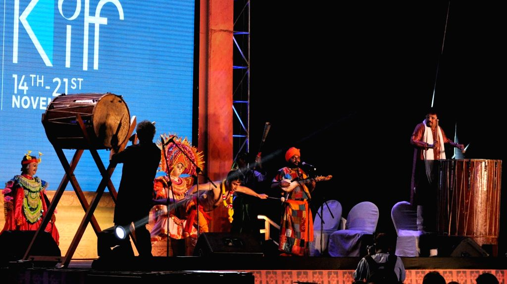 Artists perform during the inauguration of the 21st Kolkata International Film Festival in Kolkata on Nov 14, 2015.