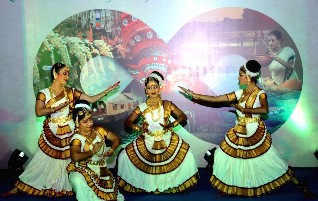 Artists perform Kathakkali during a Kerala Tourism press meet in Bengaluru, on Jan 15, 2016.