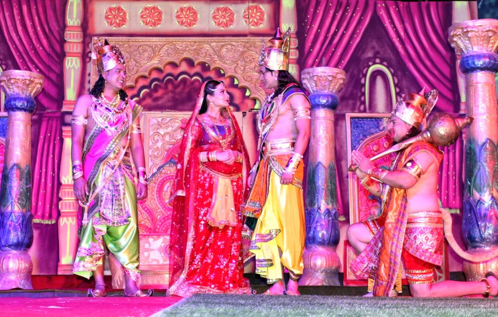Artists performs during Full Dress Rehearsal for  Luv-Kush Ramleela committee  at Red Fort in New Delhi on Tuesday October 02, 2021