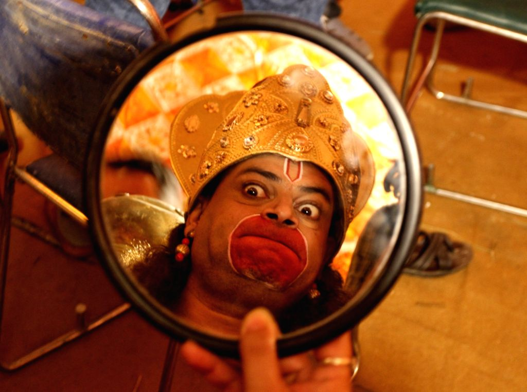 Artists prepared for the Full Dress Rehearsal for  Luv-Kush Ramleela committee  at Redfort in New Delhi on Tuesday October 02, 2021
