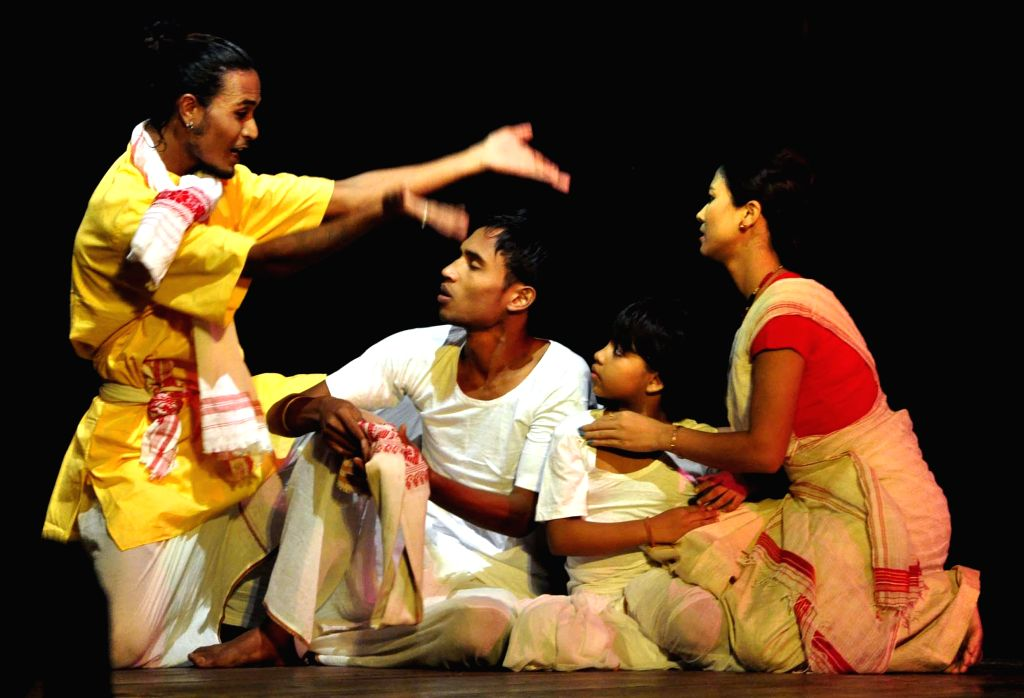 """Artists stage """"Paaror Paakhir Chithikhon"""" - a drama on the 73rd birth anniversary of  renowned singer Khagen Mahant at Rabindra Bhawan in Guwahati on Aug 17, 2014."""