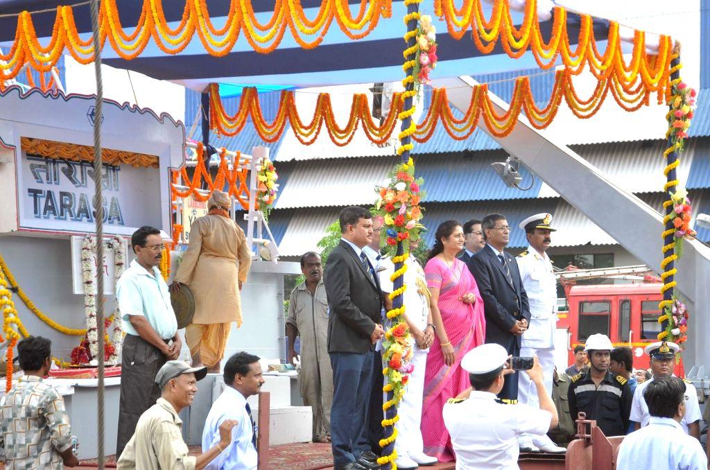 Aruna Korde, wife of Vice Admiral Jaywant Korde, AVSM, VSM, during a programme organised to launch of 'Water Jet Fast Attack Craft' (WJFAC) at Raja Bagan Dockyard in Kolkata on June 30, 2016.
