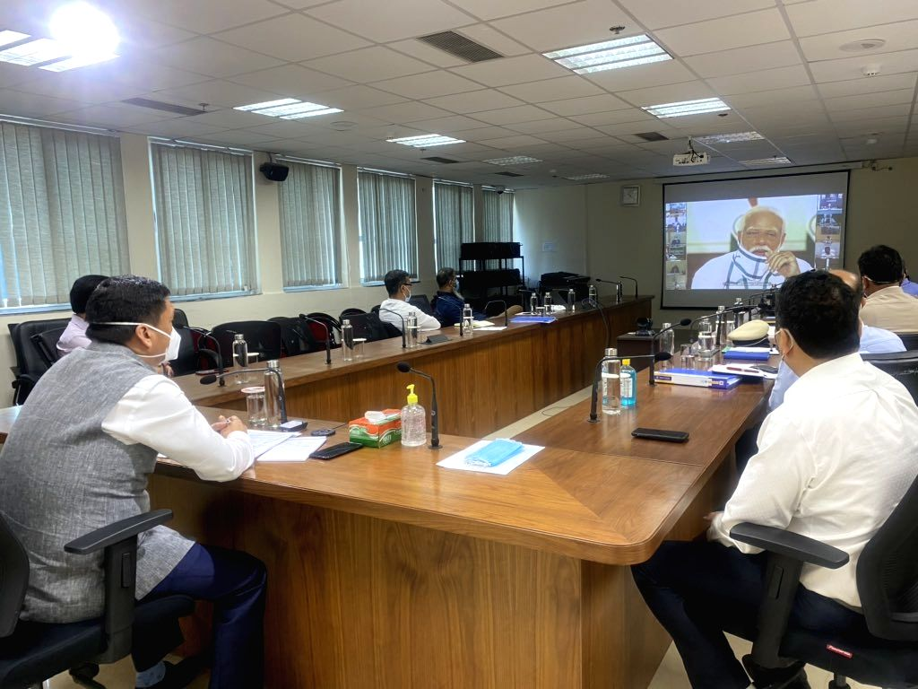 Arunachal Pradesh Chief Minister Pema Khandu attends the 4th interaction with Chief Ministers of all states and Union territories chaired by Prime Minister Narendra Modi through video ... - Pema Khandu and Narendra Modi