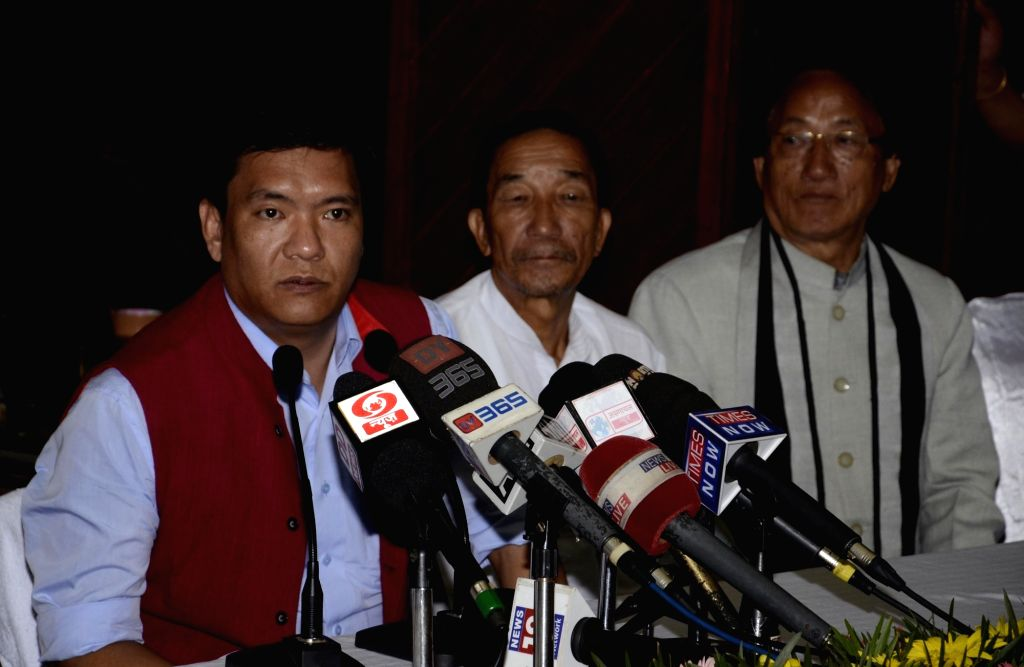 Arunachal Pradesh  Chief Minister Pema Khandu addresses a press conference in Itanagar on Sept 17, 2016. - Pema Khandu