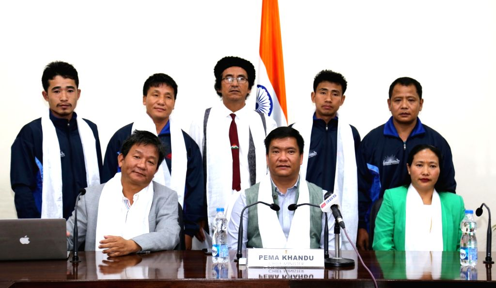Arunachal Pradesh Chief Minister Pema Khandu flags off Mt Kangto Exploration Arunachal Team 2017 from his office in Itanagar on May 5, 2017. - Pema Khandu
