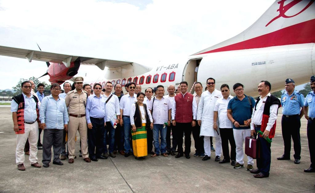 Arunachal Pradesh Chief Minister Pema Khandu after taking a ride on the Alliance Air's first commercial flight from Arunachal Pradesh at Pasighat airport on May 21, 2018. - Pema Khandu