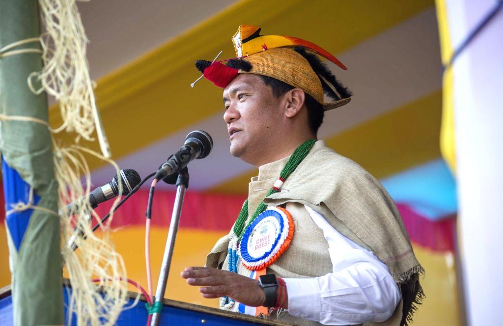 Arunachal Pradesh Chief Minister Pema Khandu addresses during 52nd Boori Boot Yullo festival in Dollungmukh village of Kamle district, on Feb 6, 2019. - Pema Khandu