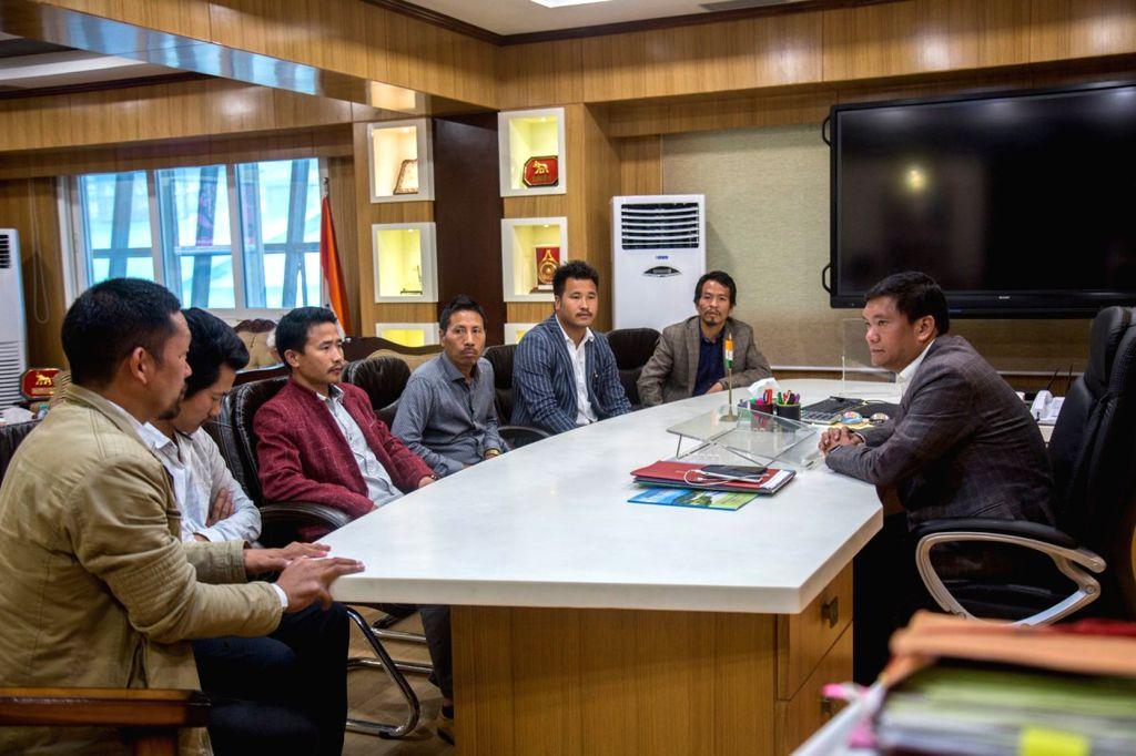 Arunachal Pradesh Chief Minister Pema Khandu during a meeting in Itanagar on Feb 25, 2019. - Pema Khandu