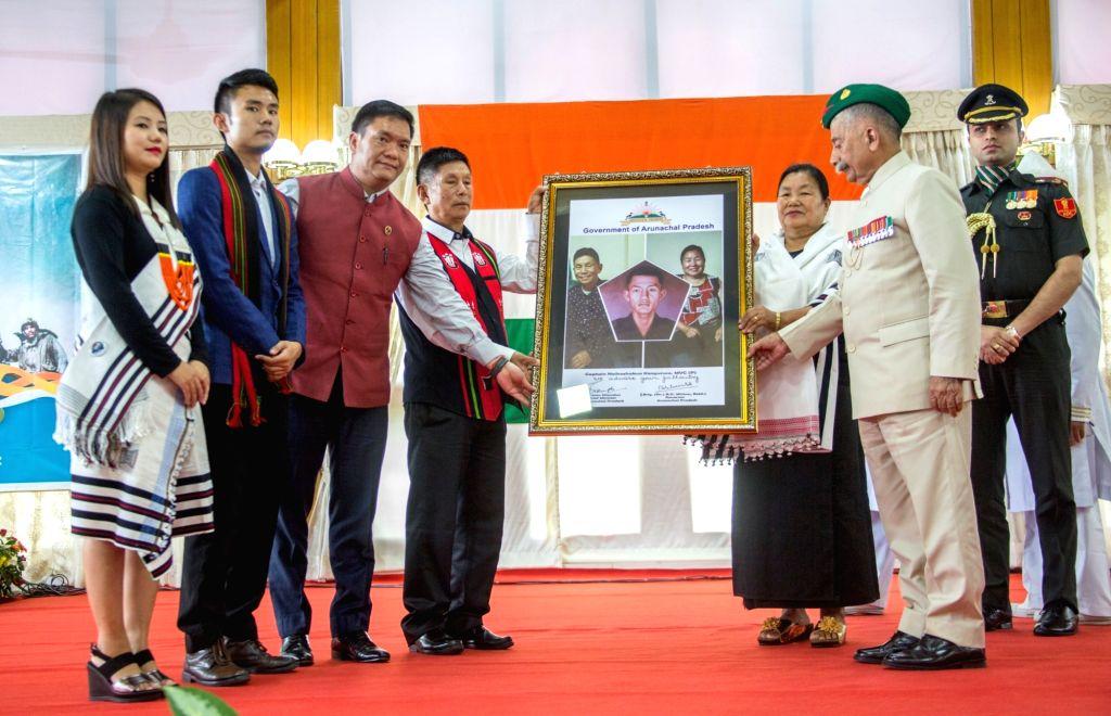 Arunachal Pradesh Chief Minister Pema Khandu felicitates the family members of Captain Neikezhakuo Kenguruse, an officer of 2 Rajputana Rifles who was posthumously awarded Maha Vir Chakra ... - Pema Khandu