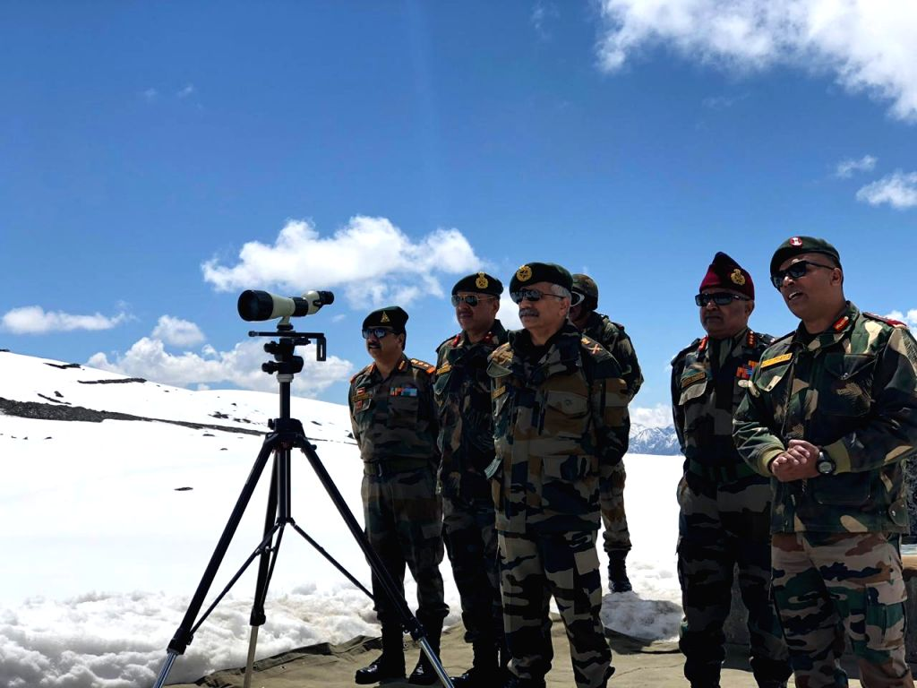 Arunachal Pradesh: General Officer Commanding-in-Chief Eastern Command, Lt Gen M.M. Naravane reviews the security situation and operational preparedness along the Line of Actual Control (LAC) in Arunachal Pradesh, on April 27, 2019. (Photo: IANS)