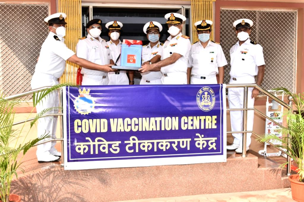 """As many as 40 frontline workers have been vaccinated for coronavirus at a naval hospital in Andhra Pradesh's Visakhapatnam on Saturday.""""Covishield vaccine was given to 40 frontline Covid ..."""