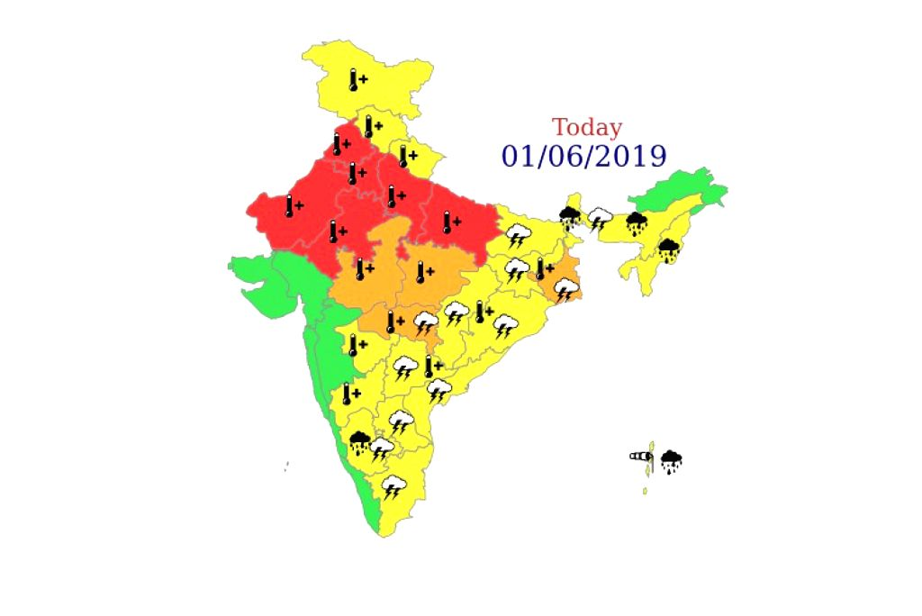 """As the minimum temperature touched 27.6 degrees Celsius on Saturday in the Delhi-NCR region, the India Meteorological Department (IMD) has issued the highest """"red"""" alert for some parts of northern India including the national capital. (Photo: IANS/IM"""
