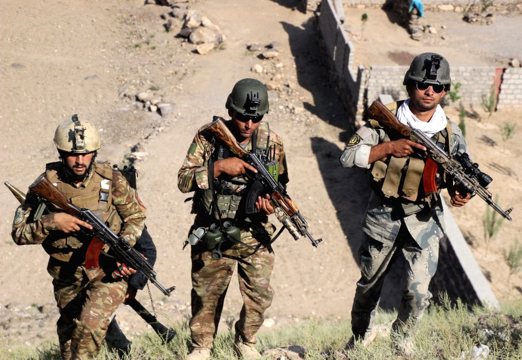 ASADABAD (AFGHANISTAN), Oct. 14, 2017 Afghan security force members take part in a military operation against Islamic State (IS) in Marawar district of eastern Kunar province, ...