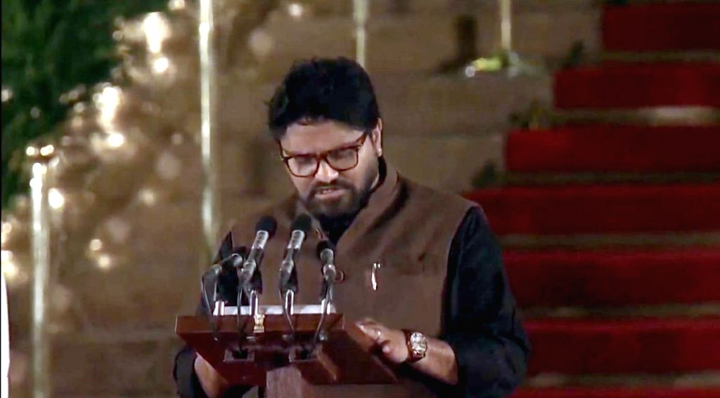 Asansol BJP MP Babul Supriyo takes oath as Union Minister at a swearing-in ceremony at Rashtrapati Bhavan in New Delhi on May 30, 2019.