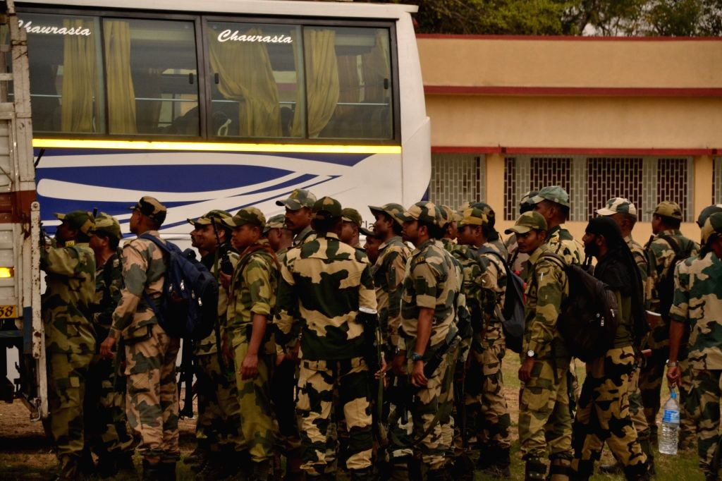 Asansol: Paramilitary forces arrive in West Bengal's Asansol ahead of 2019 Lok Sabha polls on March 15, 2019. (Photo: IANS)