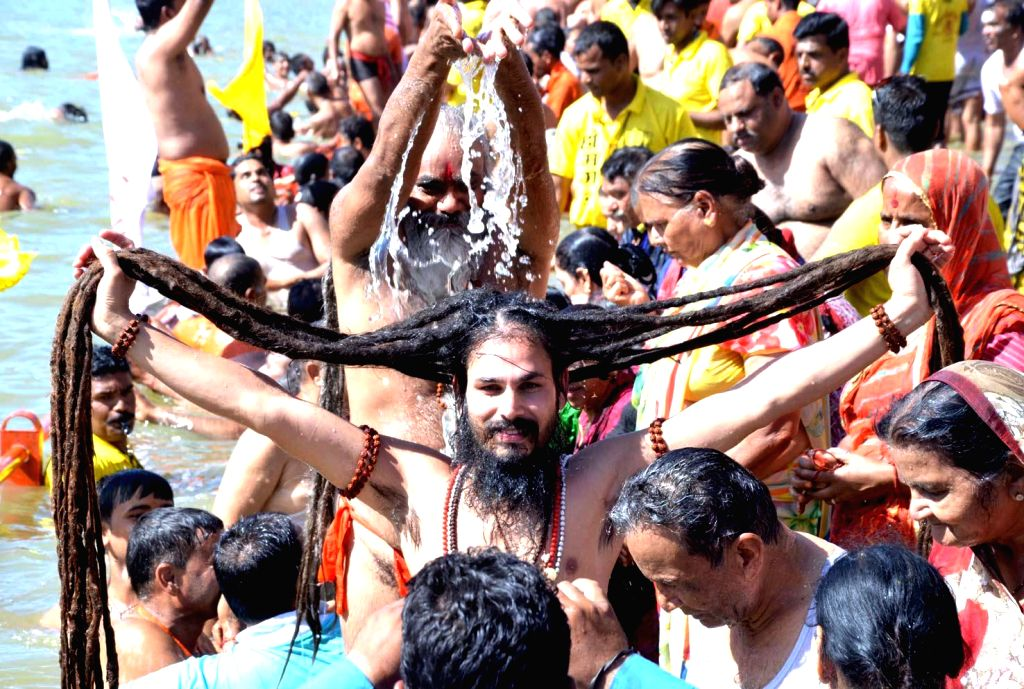 Ascetics during Simhastha Kumbh Mela, the largest congregation of Hindus in Ujjain on April 22, 2016.