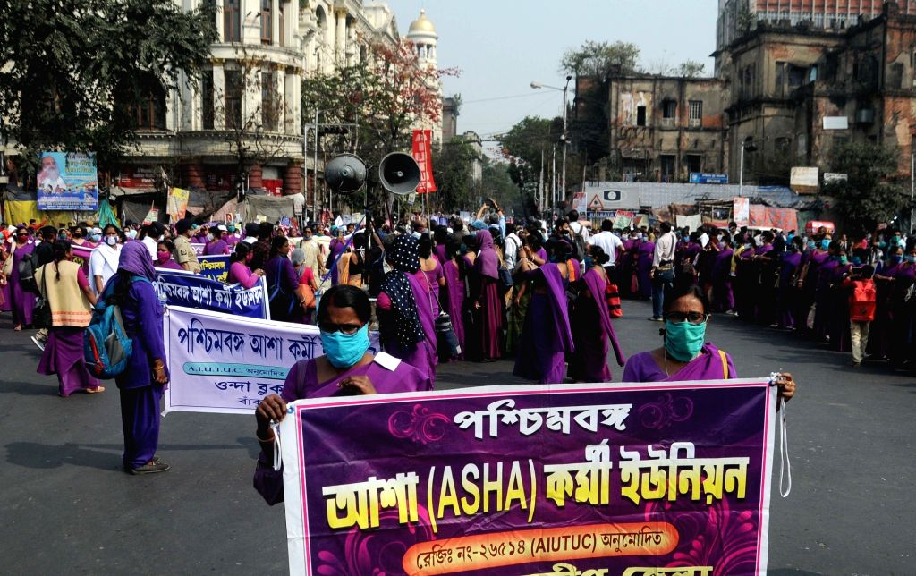 Asha Karmi Union members took part in a protest rally against the State Government for demanding permanency in their salary in Kolkata, West Bengal on Tuesday 23rd February, 2021.