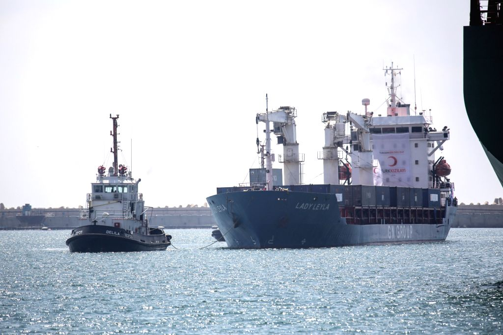 """ASHDOD, July 4, 2016 - """"Lady Leyla"""" arrives at a port of Ashdod, Israel, on July 3, 2016. The Turkish ship with humanitarian aid to the besieged Gaza Strip docked on Sunday afternoon in ..."""