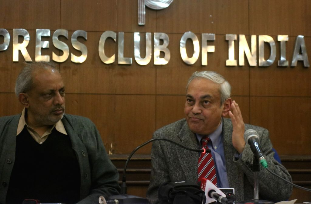 Ashis Ray of Indian Journalists' Association addresses a press conference over EVM issue in New Delhi on Feb 14, 2019.