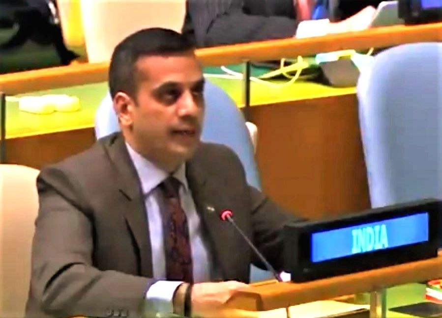 Ashish Sharma, a First Secretary at India's United Nations Mission in New York, speaks on Wednesday, December 2, 2020, at the General Assembly session on the Culture of Peace. (Photo: Indian Mission/IANS) - Ashish Sharma