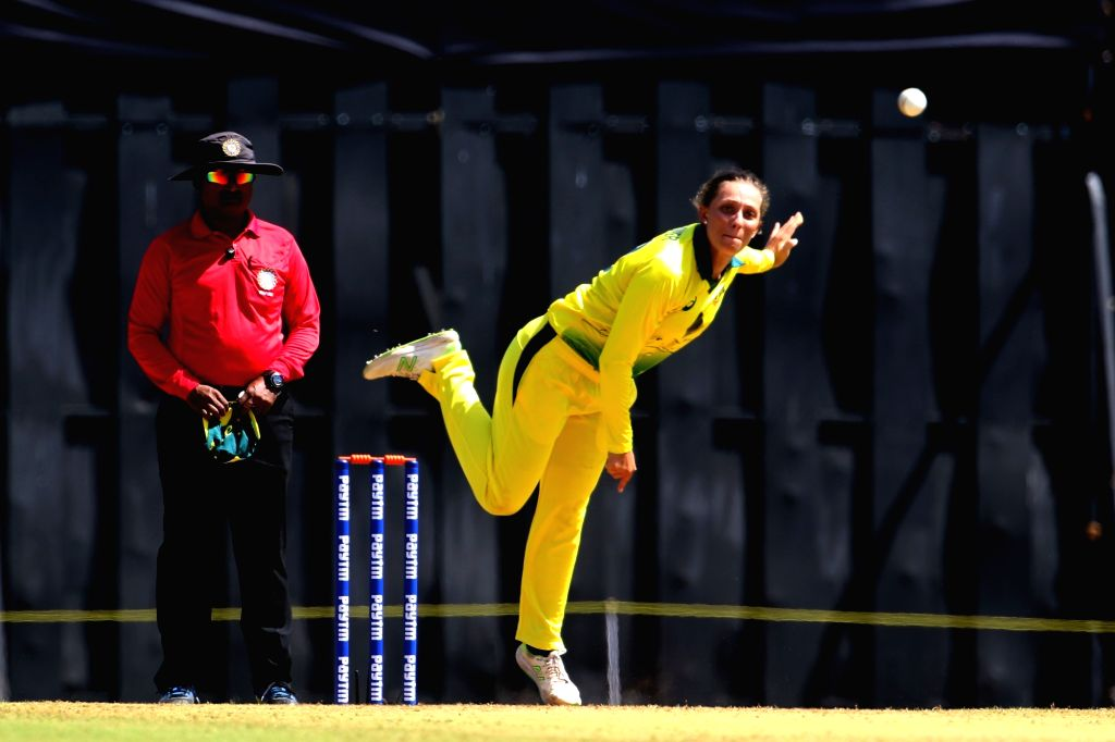 Ashleigh Gardner of Australia in action during the women's tri-series T20I match between India and Australia at the Brabourne Stadium in Mumbai on March 22, 2018.
