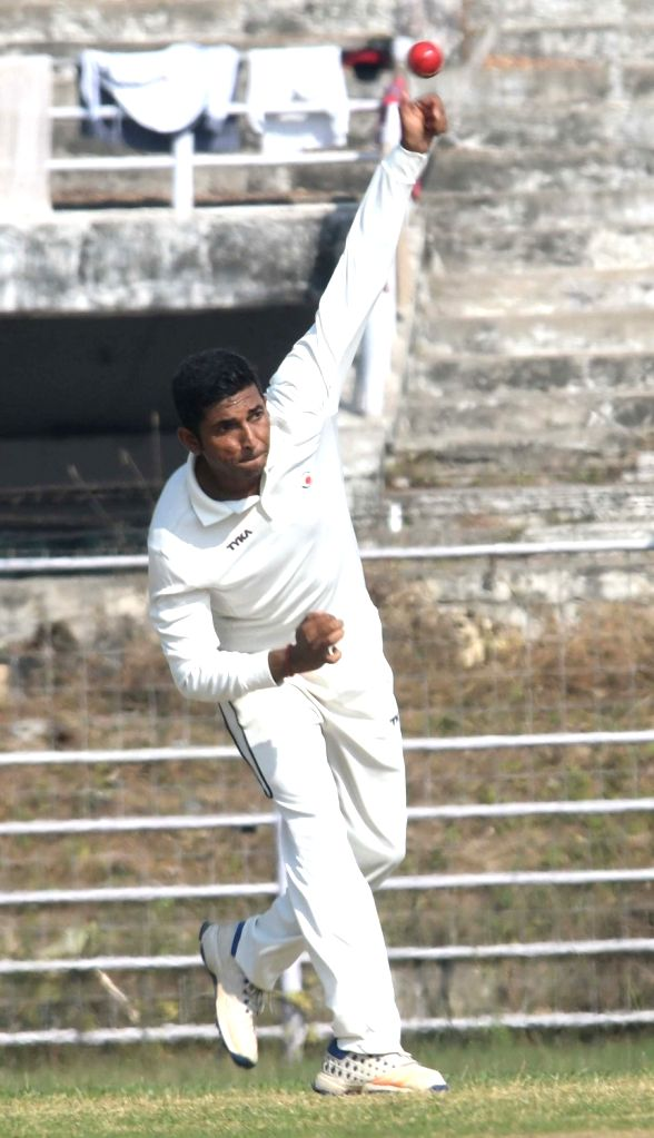 Ashutosh Aman of Bihar in action during a Ranji Trophy match between Sikkim and Bihar at Moin-Ul-Haq Stadium in Patna, on Nov 29, 2018.