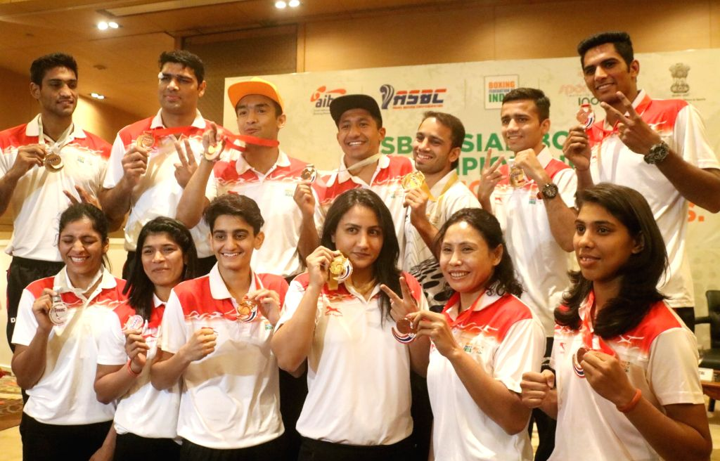 Asian Boxing Championship medalists during a felicitation programme organsied by Boxing Federation of India in New Delhi on April 30, 2019.